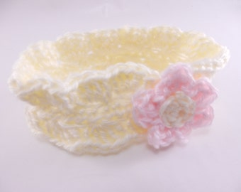 Ivory Headband with Pink and Ivory Flower