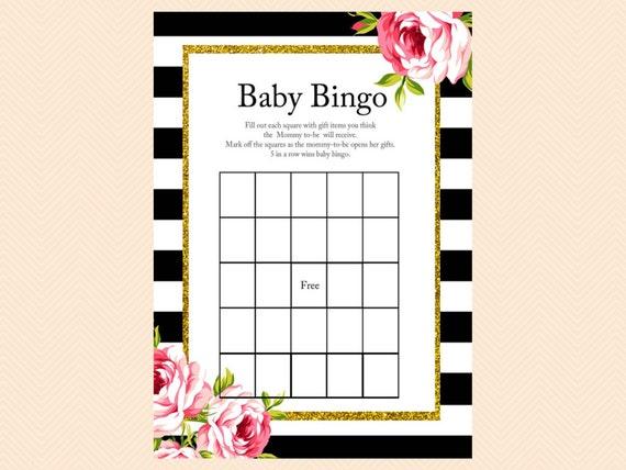 Baby Gift Bingo : Bingo baby gift card gold glitter floral by