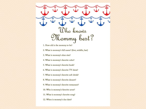 Good Who Knows Mommy Best, Daddy Best, Nautical, Beach Baby Shower Games  Printables, Anchor, Instant Download, Unique Baby Shower Games TLC13