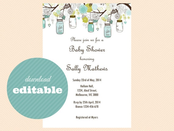 Editable Baby Shower Invitations Editable Bridal Shower