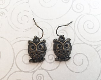 Owl earrings, bronze earrings, wise owl