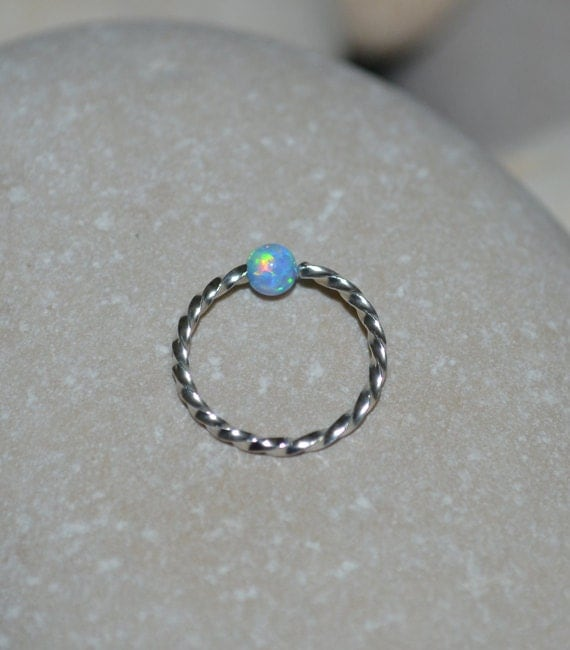 opal nose ring silver captive bead ring 18g cartilage