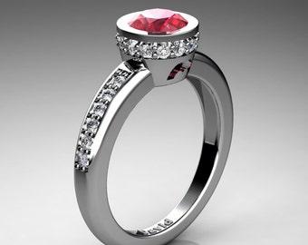 Classic 950 Platinum 1 Carat Ruby Diamond Solitaire Engagement Ring R1011-PLATDR