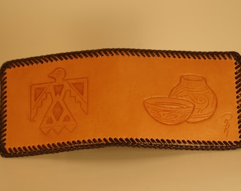 Handcarved Leather Men''s Wallet with Thunderbird and Claypots