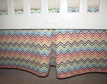 Multi Colored Chevron Crib Skirt with Pleat