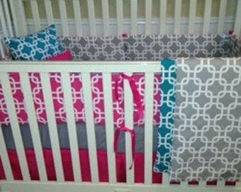 Pink and Turquoise Baby Bedding Set