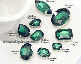 Drak Green Glass Rhinestones beads --15pcs Emerald Teardrop Oval Octagon Marquise Sew on loose Rhinestones silver settings Vintage Crystal