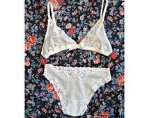 White Lace Lingerie Set with Satin Band
