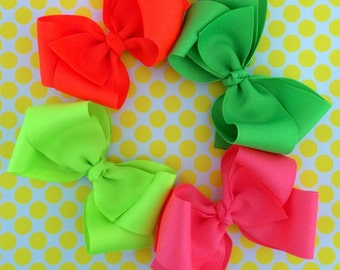 Neon Hair Bows, Pack 4 Colors, Neon Boutique Bow, Neon Pink Hair Bow, Neon Green Hair Bow, Neon Yellow Hair Bow, Neon Orange Hair Bow
