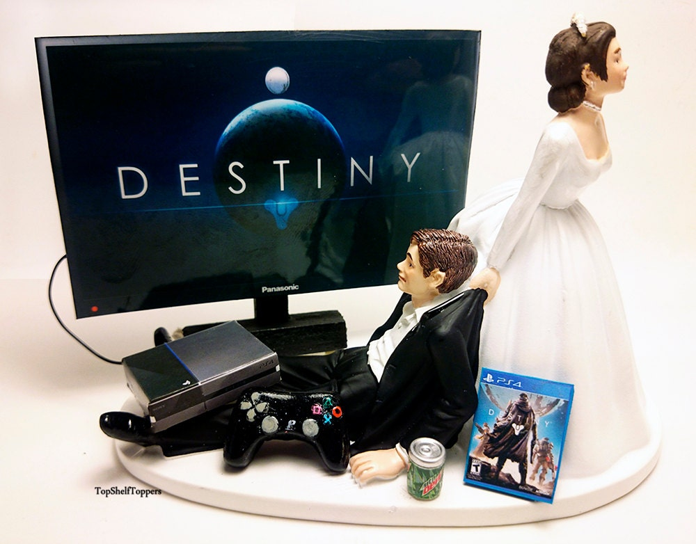 wedding cake topper funny dest gamer xbox one ps4 custom. Black Bedroom Furniture Sets. Home Design Ideas