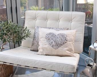 Bronze Sequin Heart Cushion
