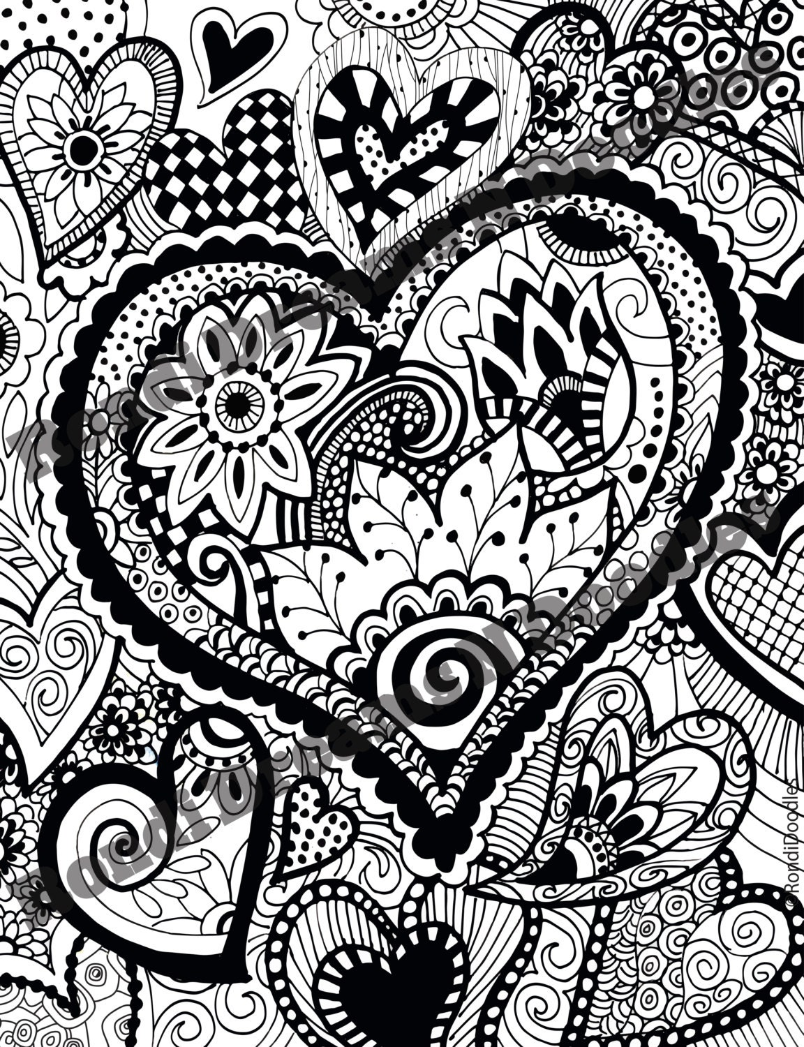 Heart work zendoodle coloring page for Zendoodle coloring pages