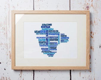 Devon Word Map - Framed Print