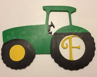 Custom Painted Wooden Tractor with letter insert
