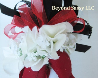Red Black Wedding Prom Rose Flower Pin On or Wrist Corsage