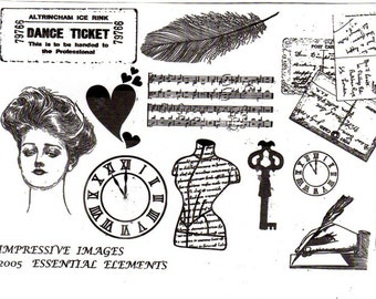 Essential Elements - A5 sheet of unmounted rubber stamp collage designs- non adhesive