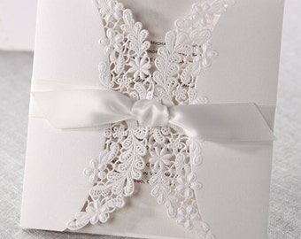 Laser cut pearl white floral & lace wedding invitation