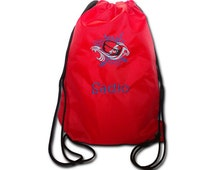 Gym bags with a hockey motif and name embroidered
