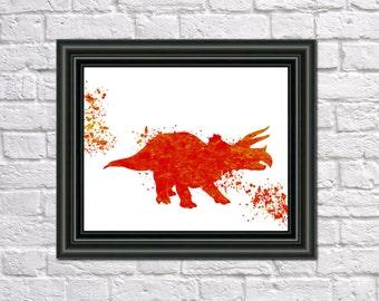Triceratops Dinosaur Print Fine Art Children's Animal Wall Art Home Decor