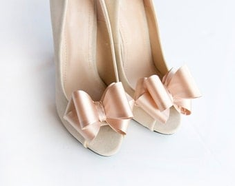 Beige 3D Bows Shoe Clips Bridal Wedding Shoe Accessories