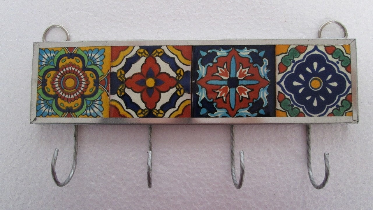 Key Holder Talavera Tile Mexican Handmade Wall Hanging Hook
