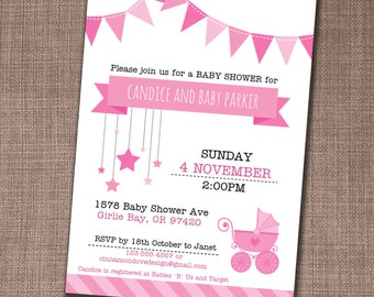 Baby Shower Invitation - Baby Shower Invite - Baby Girl Shower Invite - Edit yourself at home!