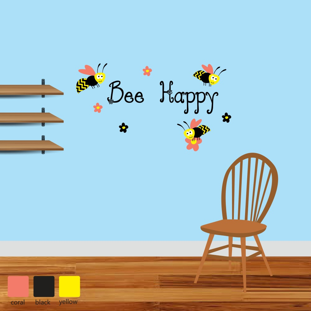 Bumble bee wall decals bee happy wall decals by for Bumble bee mural