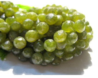 Vessonite Beads, Green Garnet Beads, Micro Faceted Onion Briolettes, 7x7mm Each, 54 Pieces Approx