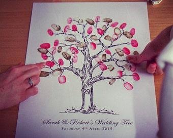 Personalised Fingerprint Wedding Tree - Alternative Guest Book -  2 Inks included!