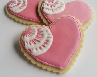 Decorated Iced Sugar Cookies heart pink white love favors gift