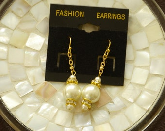 Ivory pearl and crystal gold plated earrings