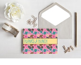 THANK YOU CARD - Printable 5x7 Thank You Card - Thanks a Bunch Greeting Card - Flower Print - Downloadable Print - Printable Art