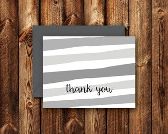 Striped Folded Blank Thank you Note Card Greeting Card Teal Blue Green Chartreuse Gray Slate Horizontal Landscape