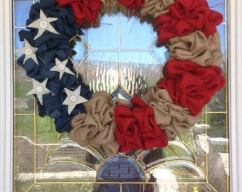 Americana Burlap Wreath