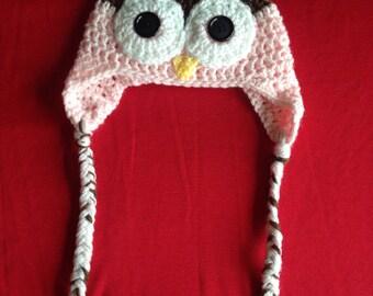 Crochet baby girl owl hat
