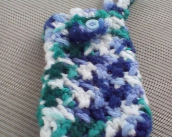 crochet cell case purple and green