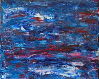 Colorful Original Abstract Painting Acrylic 16 X 20 Red White Blue American