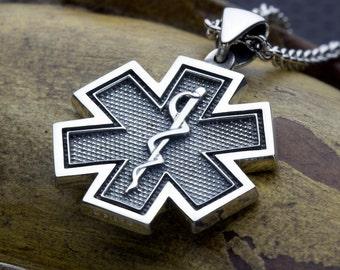 Small EMS EMT Paramedic Medical Alert Star of Life Sterling Silver Necklace Pendant