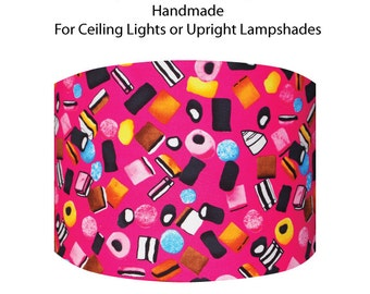 Drum Lampshade with Liquorice Allsorts on a Pink Background