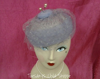 Vintage Ladies Hat Blue Cellulose with netting