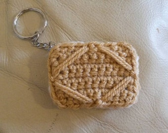 Custard Cream Biscuit Handmade Crochet Keyring or Brooch