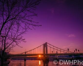 Sunset between bridges in Pittsburgh PA