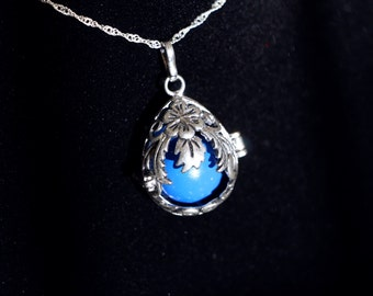 "Gentle Chime Floral Teardrop Pendant with Multiple Color Options in 925 Sterling Silver With 18"" or 22"" Sterling Silver Chain"
