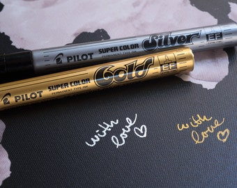 2 CANVAS Pilot Metallic Writing Gold and Silver - Signing Pens