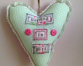 Married in 2015 stuffed heart
