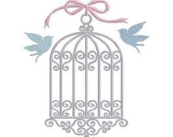 Birds & Cage machine embroidery design