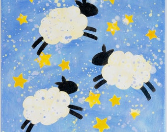Sheep - Original acrylic painting 12 in. x 12 in. x 6/8 in. kids wall art