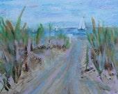 "Cape Cod Sailboat Original Oil Painting 5"" x 5"" Beach"