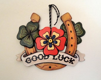 Good Luck Horseshoe, Old School, Handmade wooden painting