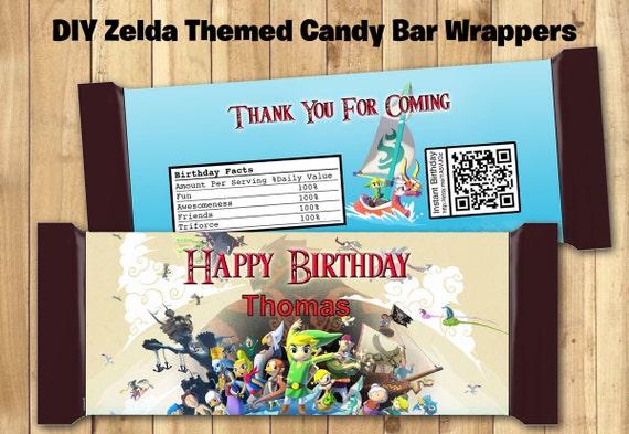 Zelda Candy Bar Wrapper - Download Customize Print - Zelda Chocolate Bar Wrappers Zelda Chocolate Bar Wraps 1.5 oz (43g) Zelda Link wrapper